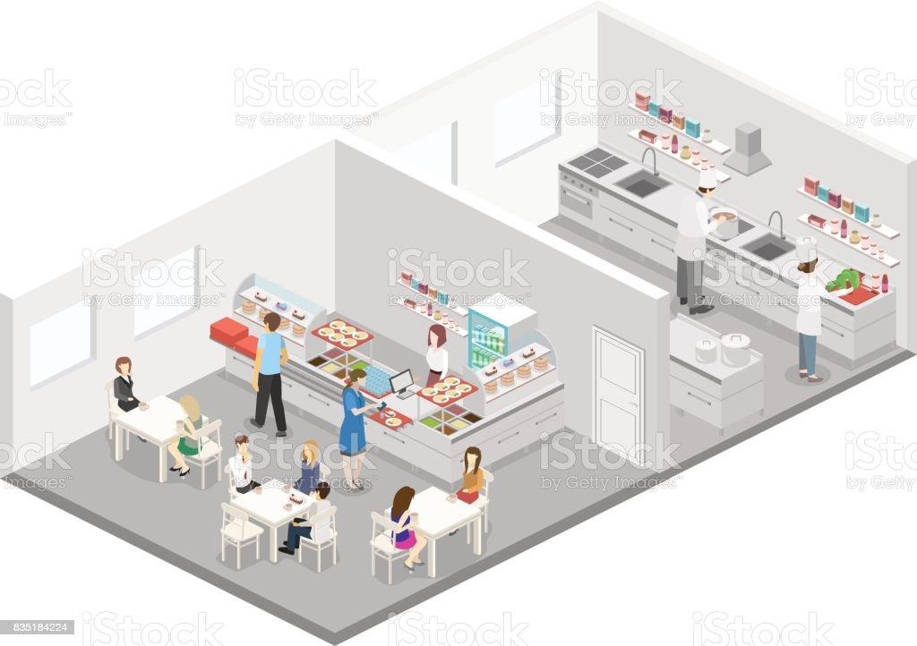 Interior plano 3d isom trico de cocina caf cantina y for Plano de una cocina de un restaurante