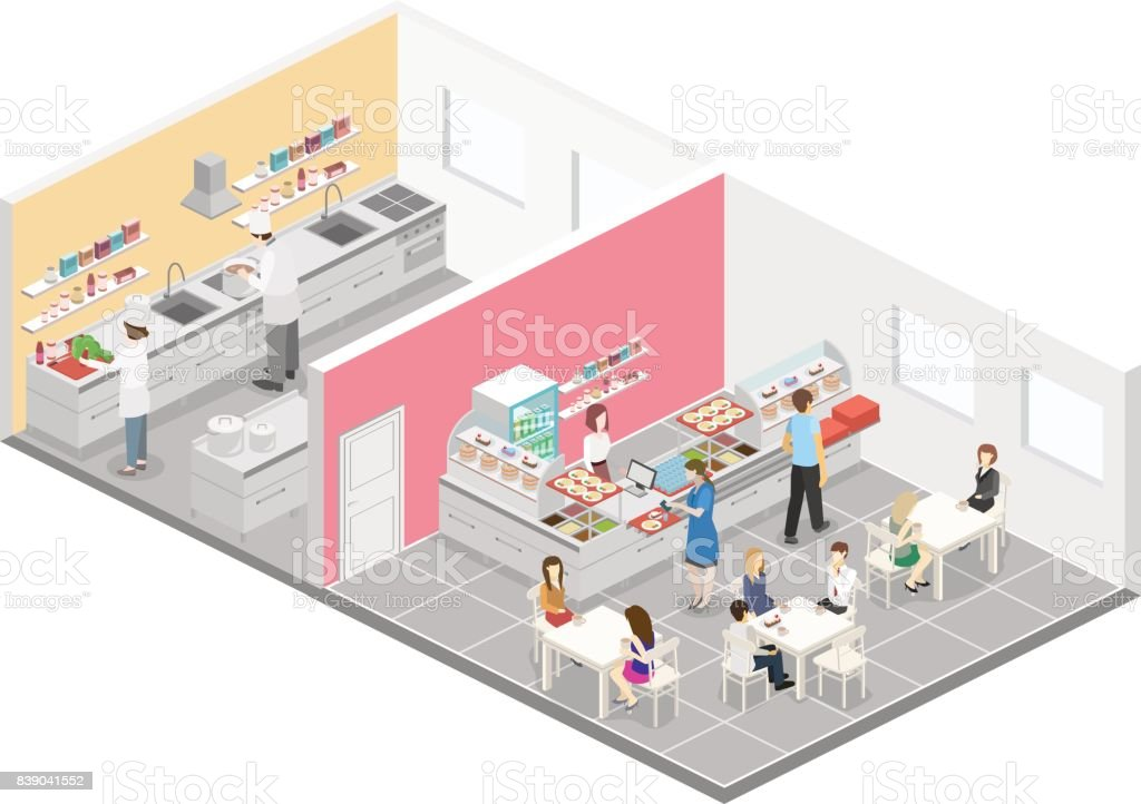 Isometric Flat 3d Interior Of Cafe Canteen And Restaurant Kitchen Stock Illustration Download Image Now Istock