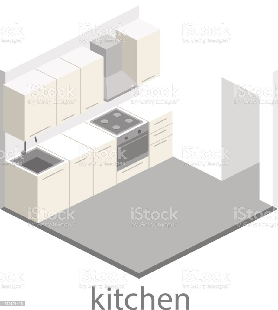 Interior Plano 3d Isométrico De Cocina Juego Completo De Muebles De ...