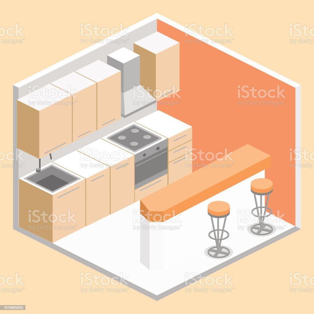 Ilustración de Interior Plano 3d Isométrico De Cocina Juego Completo ...