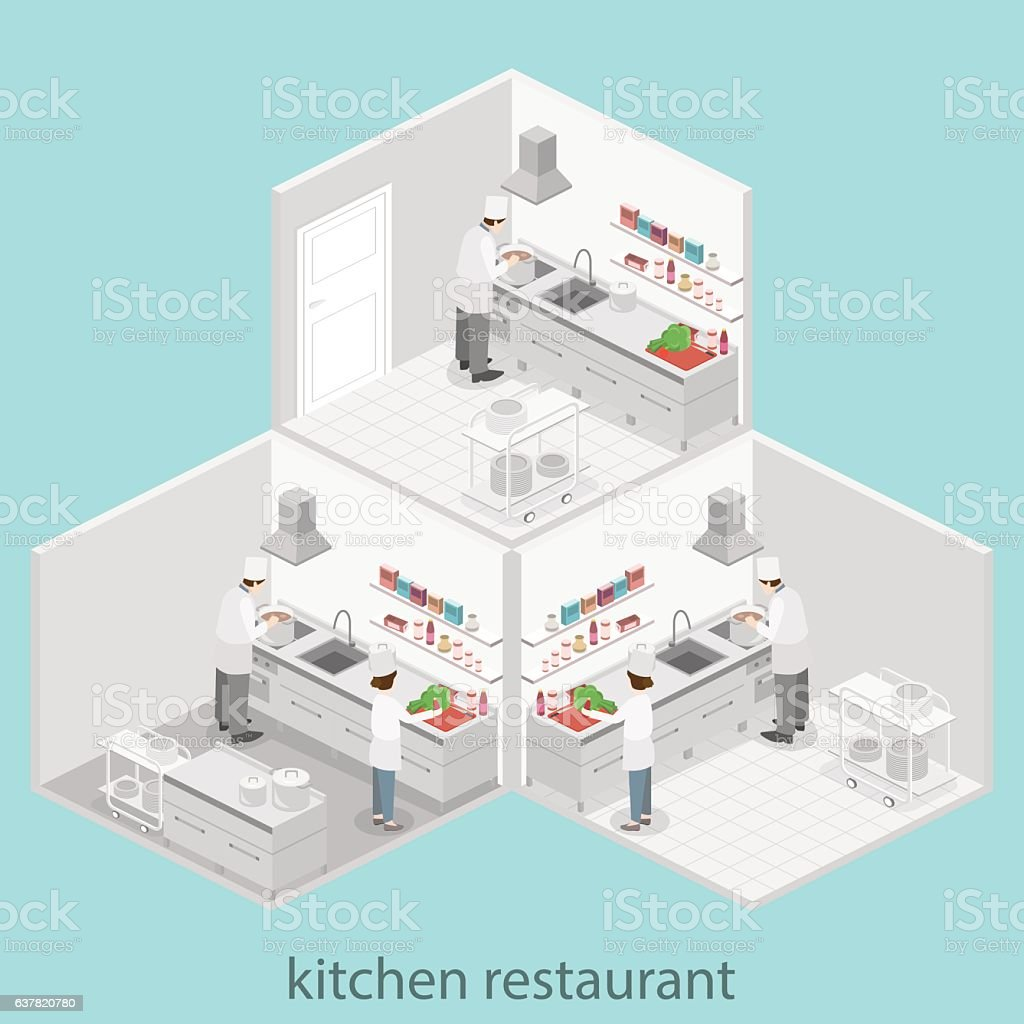 Isometric Flat 3d Interior Of Professional Restaurant Kitchen Stock ...