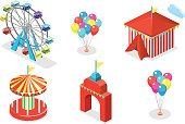 Isometric flat 3D isolated concept vector city banners with carousels. amusement park