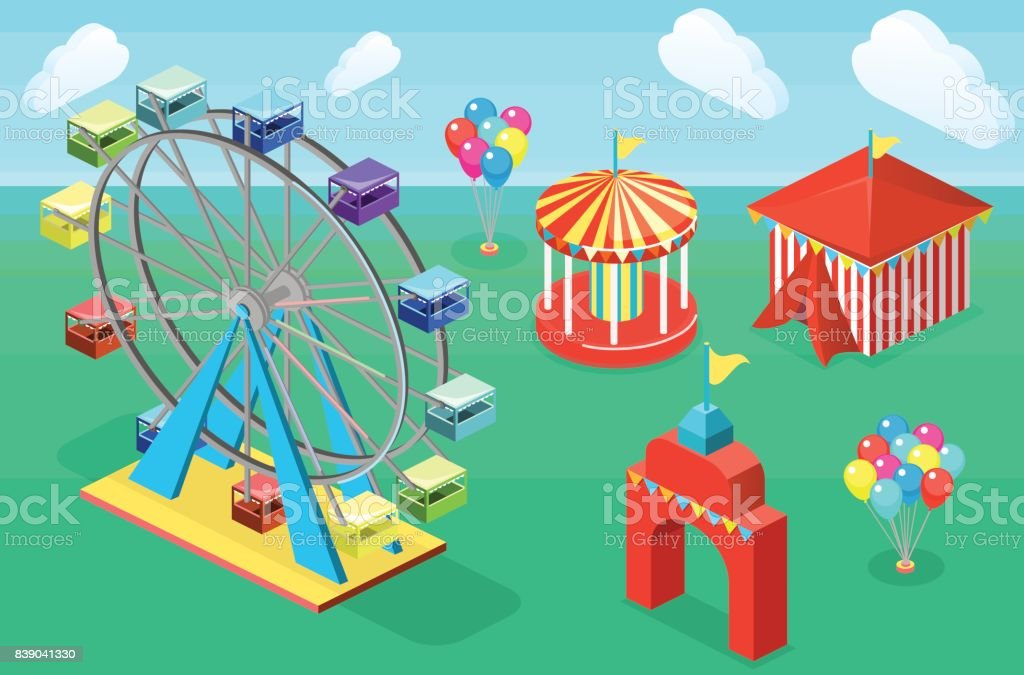 Isometric Flat 3d Isolated City Banners With Carousels Amusement