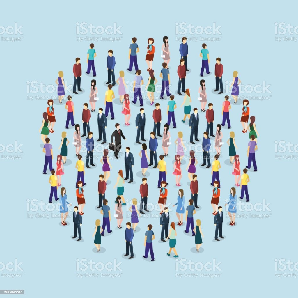 Isometric flat 3D isolated concept vector a large crowd of people standing in the shape of a circle vector art illustration