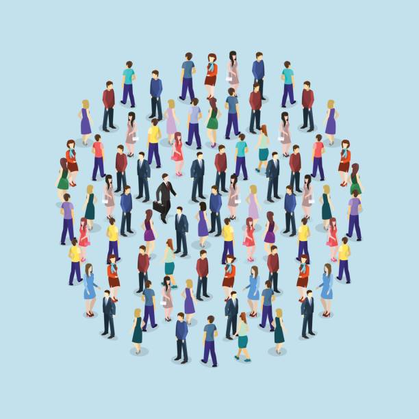 isometric flat 3d isolated concept vector a large crowd of people standing in the shape of a circle - duża grupa obiektów stock illustrations