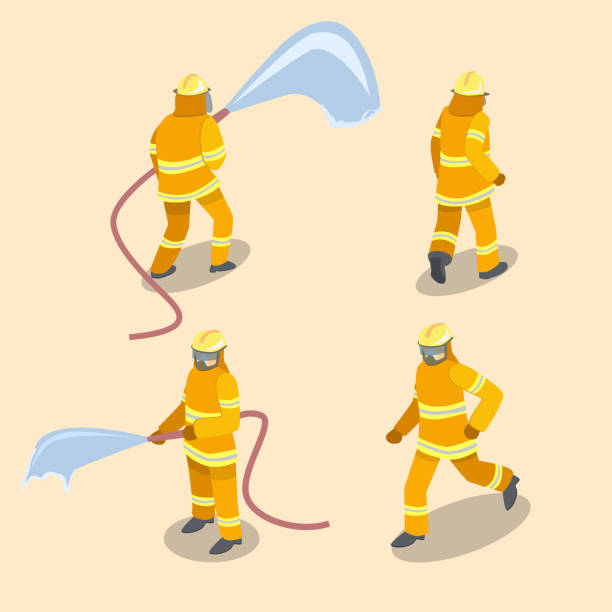Isometric flat 3D isolated concept vector Firefighters in action. Isometric flat 3D isolated concept vector cutaway Firefighters in action. fire hose stock illustrations