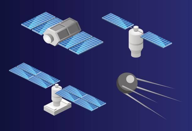 isometrische flach 3d isolierten raum gps-satelliten. wireless-satellitentechnik. - aerial overview soil stock-grafiken, -clipart, -cartoons und -symbole