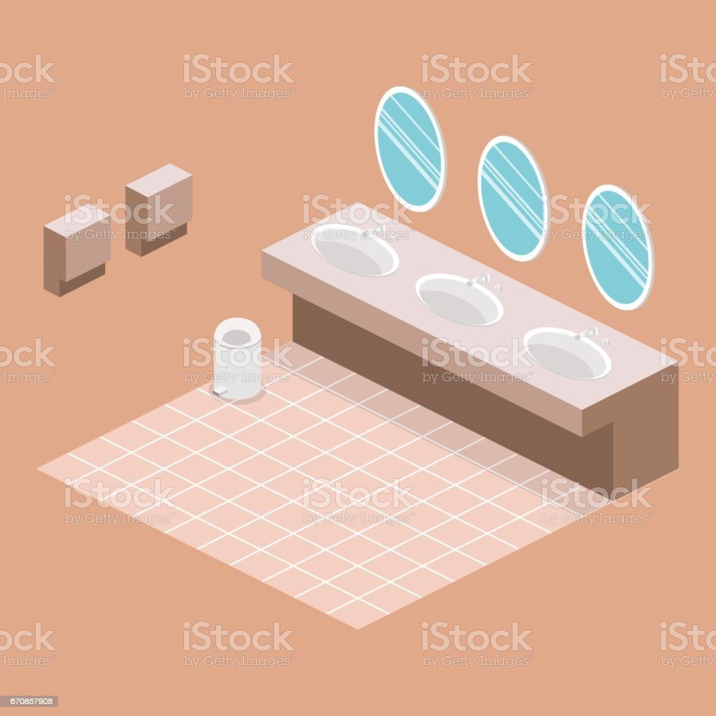 Isometric Flat 3d Isolated Vector Cutaway Interior Of Public Toilet