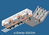 Isometric flat 3D   metro subway train carriage. underground station