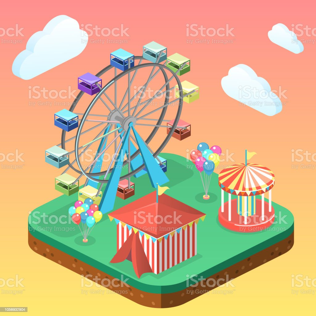 Isometric Flat 3d Vector City Banners With Carousels Amusement Park