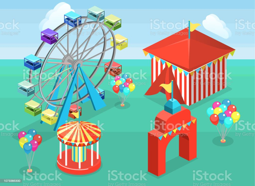 Isometric Flat 3d Vector City Banners With Carousels Amusement Park Stock  Illustration - Download Image Now