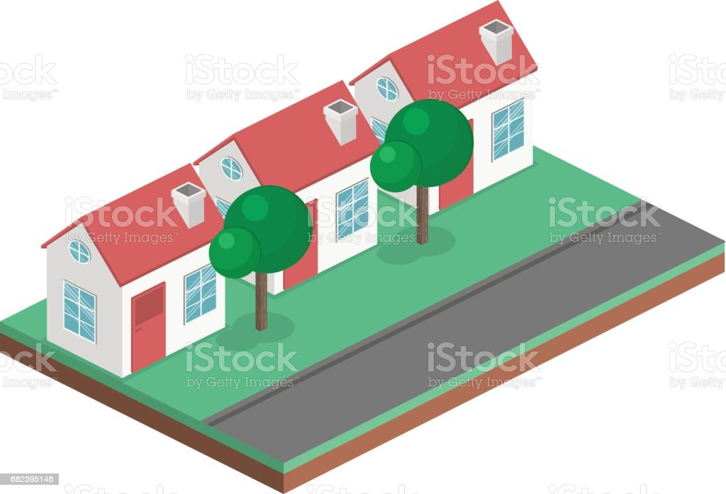 Isometric flat 3D vector cityscape. District with small single-storey houses royalty-free isometric flat 3d vector cityscape district with small singlestorey houses stock vector art & more images of apartment
