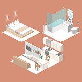 Isometric flat 3D vector interior kitchen, bathroom, living room bedroom