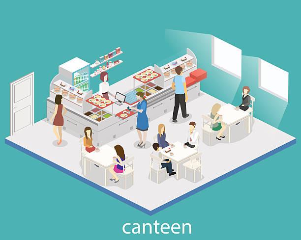 isometric flat 3d vector interior of a canteen. - hochschulgetränke stock-grafiken, -clipart, -cartoons und -symbole