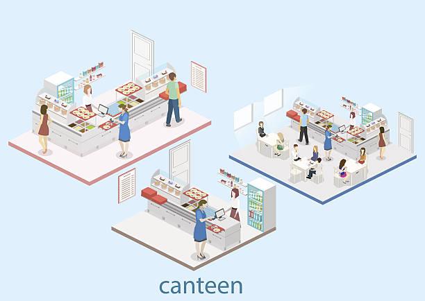 illustrazioni stock, clip art, cartoni animati e icone di tendenza di isometric flat 3d vector interior of a canteen. - banchi scuola