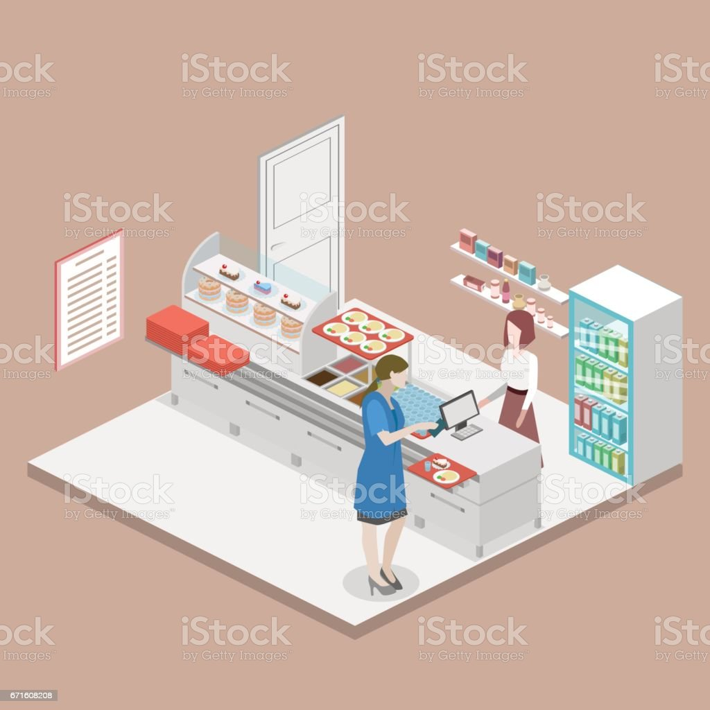 Isometric flat 3D vector interior of a coffee shop or canteen. vector art illustration