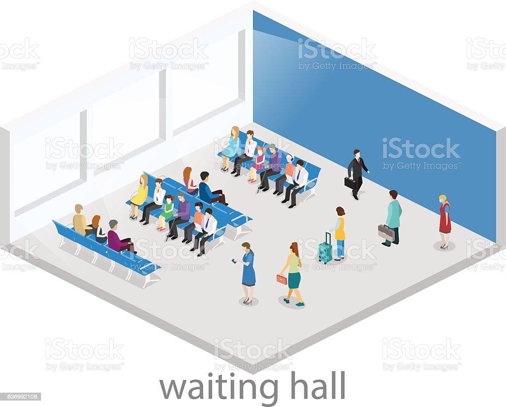 Isometric flat 3D vector interior  waiting room in airport . vector art illustration
