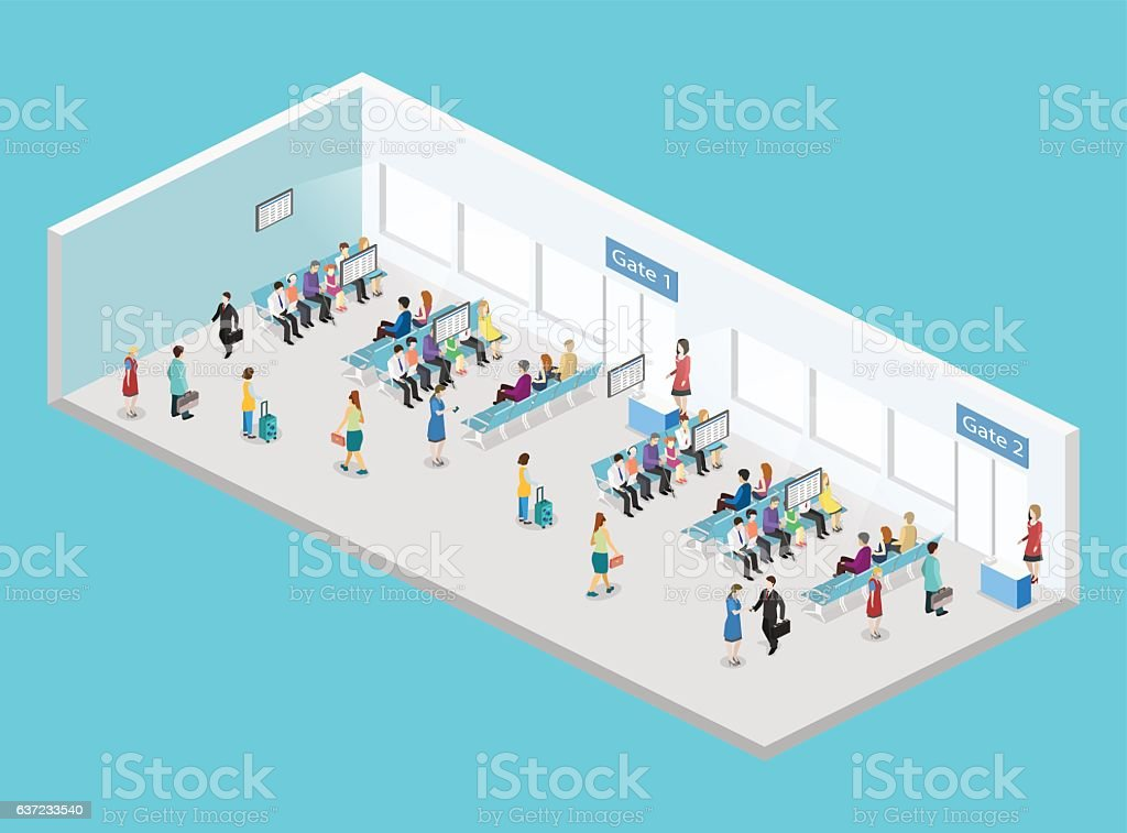 3d airport diagram auto electrical wiring diagram isometric flat 3d vector interior waiting room in airport stock rh istockphoto com 3d diagram software data center network diagram ccuart Choice Image