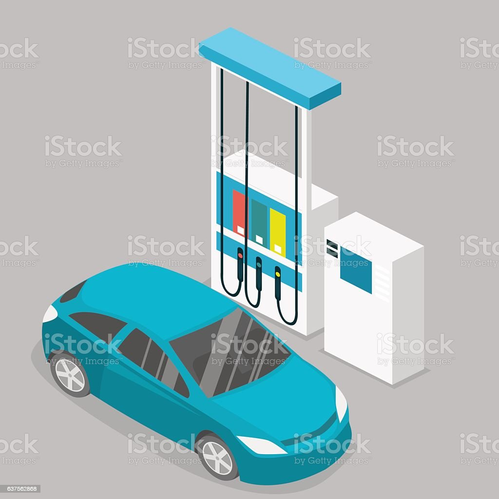 Isometric flat 3D vector outside Gas station, petrol station vector art illustration