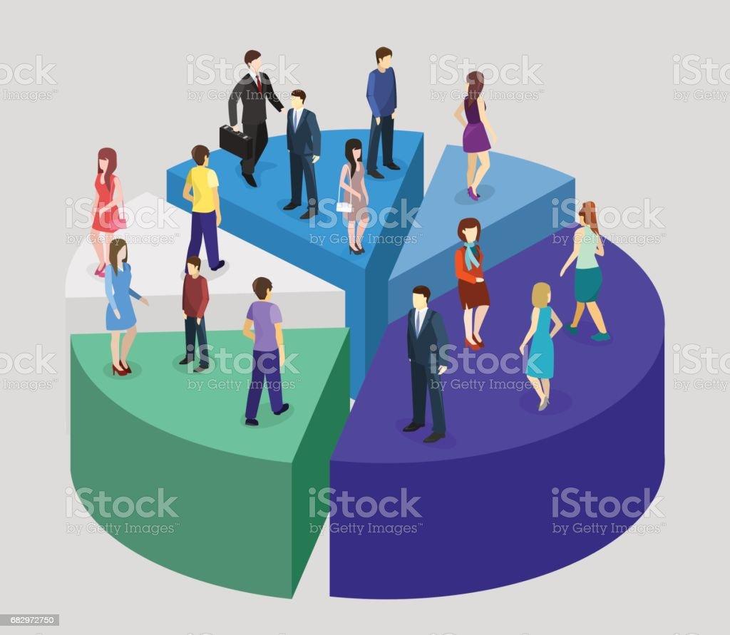 Isométrica plana personas soporte en Pie diagrama de éxito empresarial ilustración de isométrica plana personas soporte en pie diagrama de éxito empresarial y más banco de imágenes de adulto libre de derechos