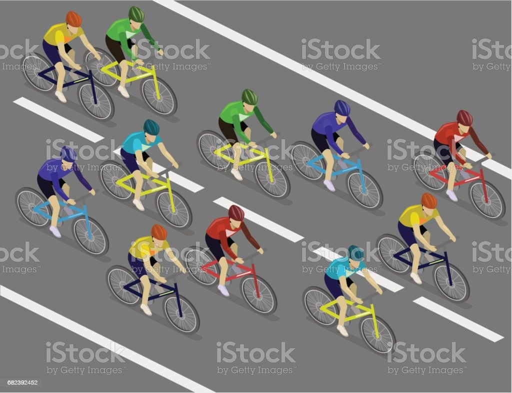 Isometric flat group of cyclists man in road bicycle racing. royalty-free isometric flat group of cyclists man in road bicycle racing stock vector art & more images of adult