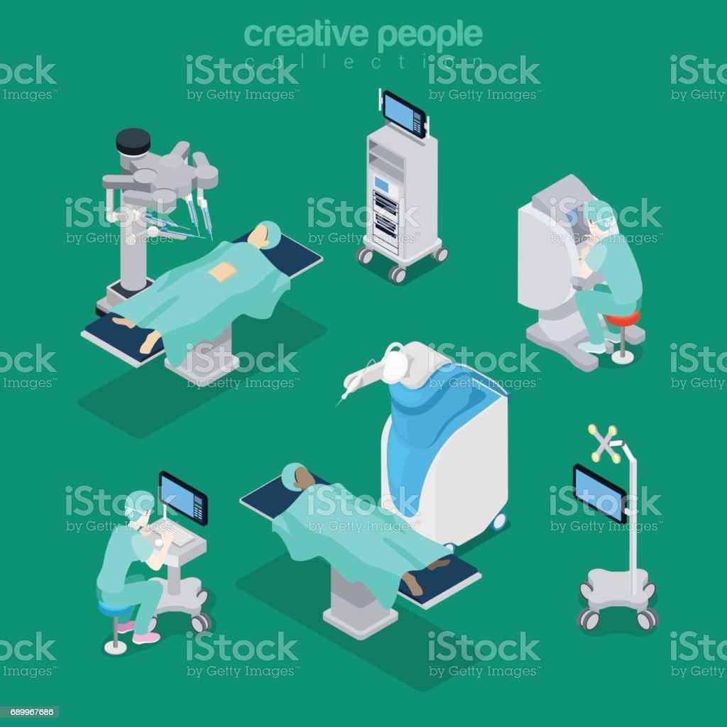Isometric flat hospital modern equipment and medical professionals vector illustration. Healthcare, Innovative medicine 3d isometry concept. Doctor, operator, patient characters. vector art illustration