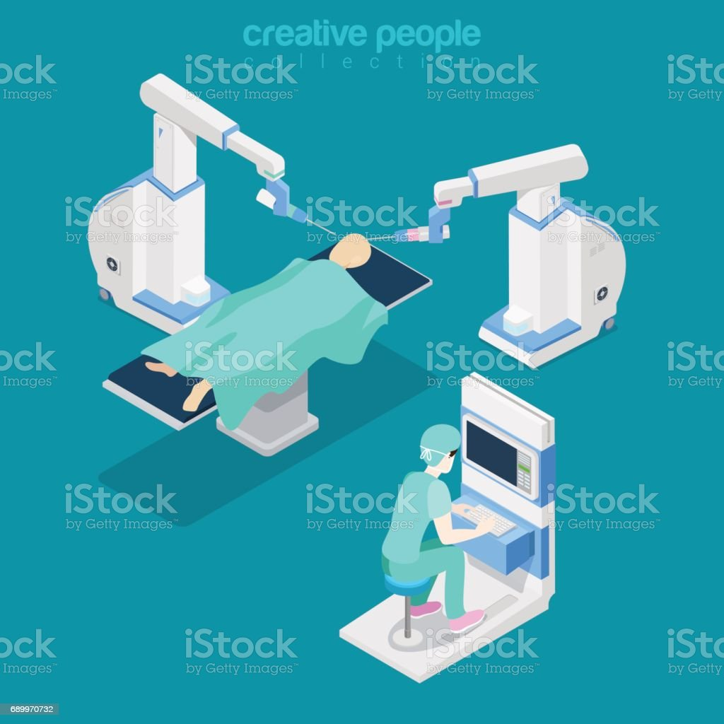 Isometric flat hospital modern equipment, robot-assisted brain surgery vector illustration. Healthcare, Innovative medicine 3d isometry concept. Doctor, operator, patient characters. vector art illustration