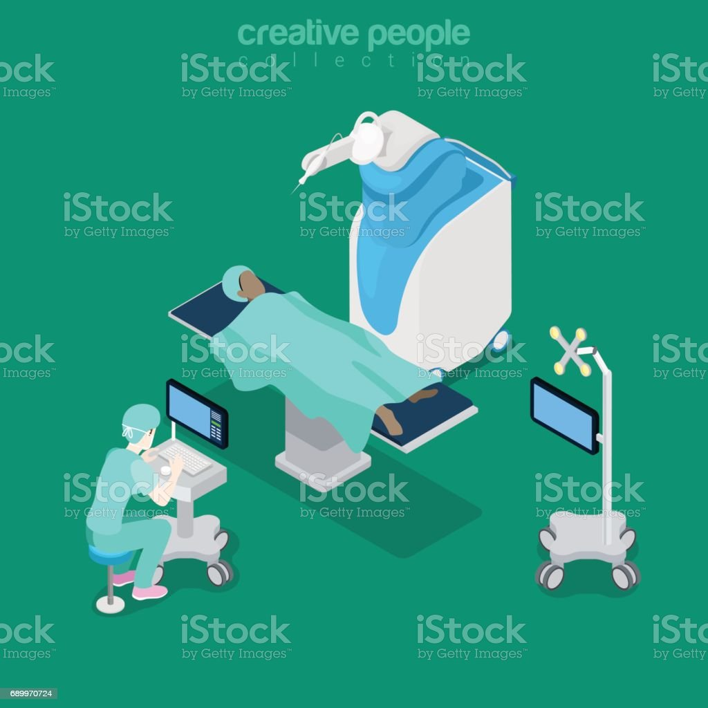 Isometric flat hospital modern equipment, robot-assisted surgery vector illustration. Healthcare, Innovative medicine 3d isometry concept. Doctor, operator, patient characters. vector art illustration