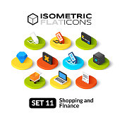Isometric flat icons set 11