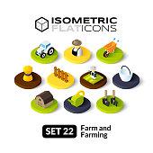 Isometric flat icons set 22