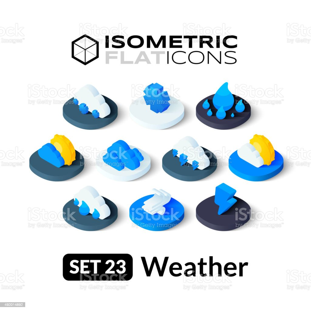 Isometric flat icons set 23 vector art illustration