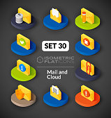Isometric flat icons set 30