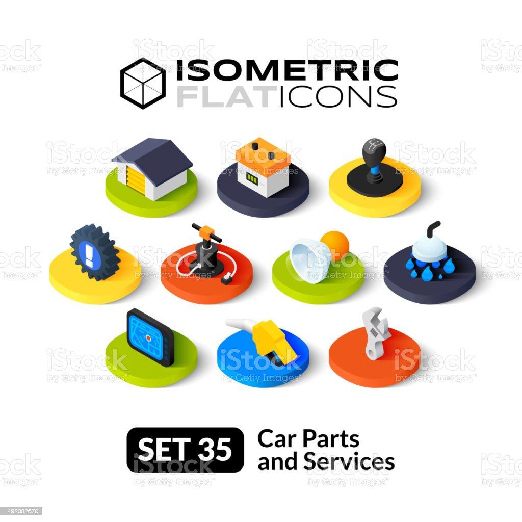 Isometric flache icons set 35 – Vektorgrafik
