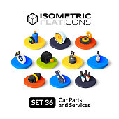 Isometric flat icons, 3D pictograms vector set 36 - Car parts and services symbol collection