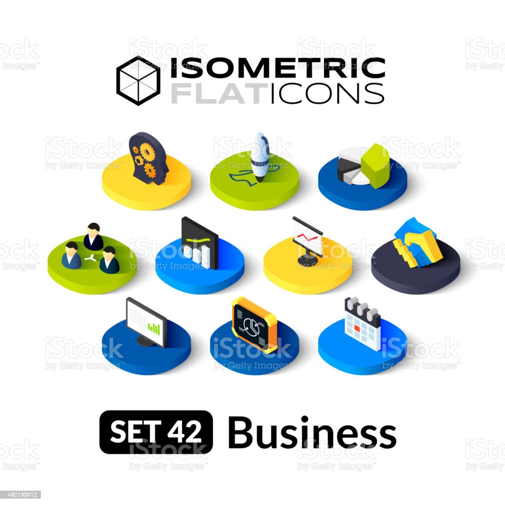 Isometric flat icons set 42 vector art illustration