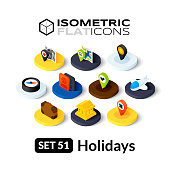 Isometric flat icons, 3D pictograms vector set 51 - Holidays symbol collection