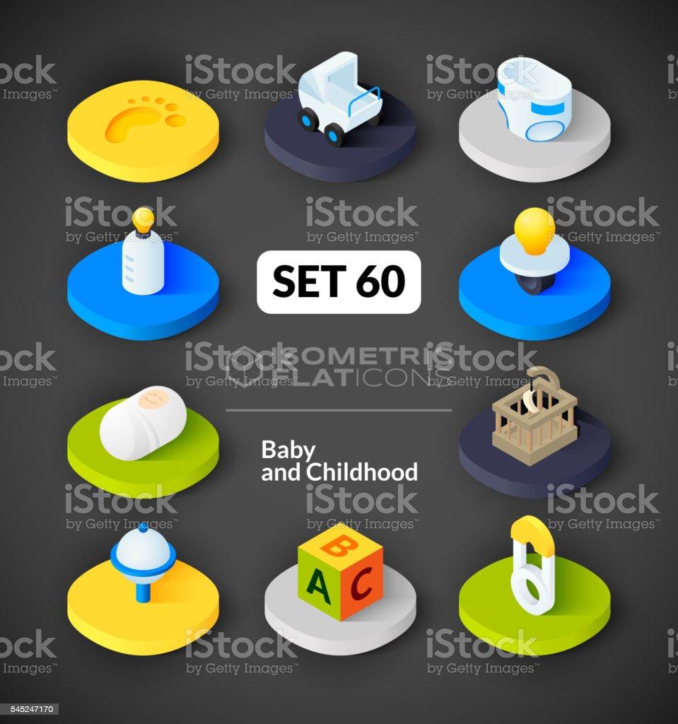 Isometric flat icons set 60 vector art illustration