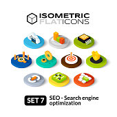 Isometric flat icons, 3D pictograms vector set 7 - Search engine optimization symbol collection