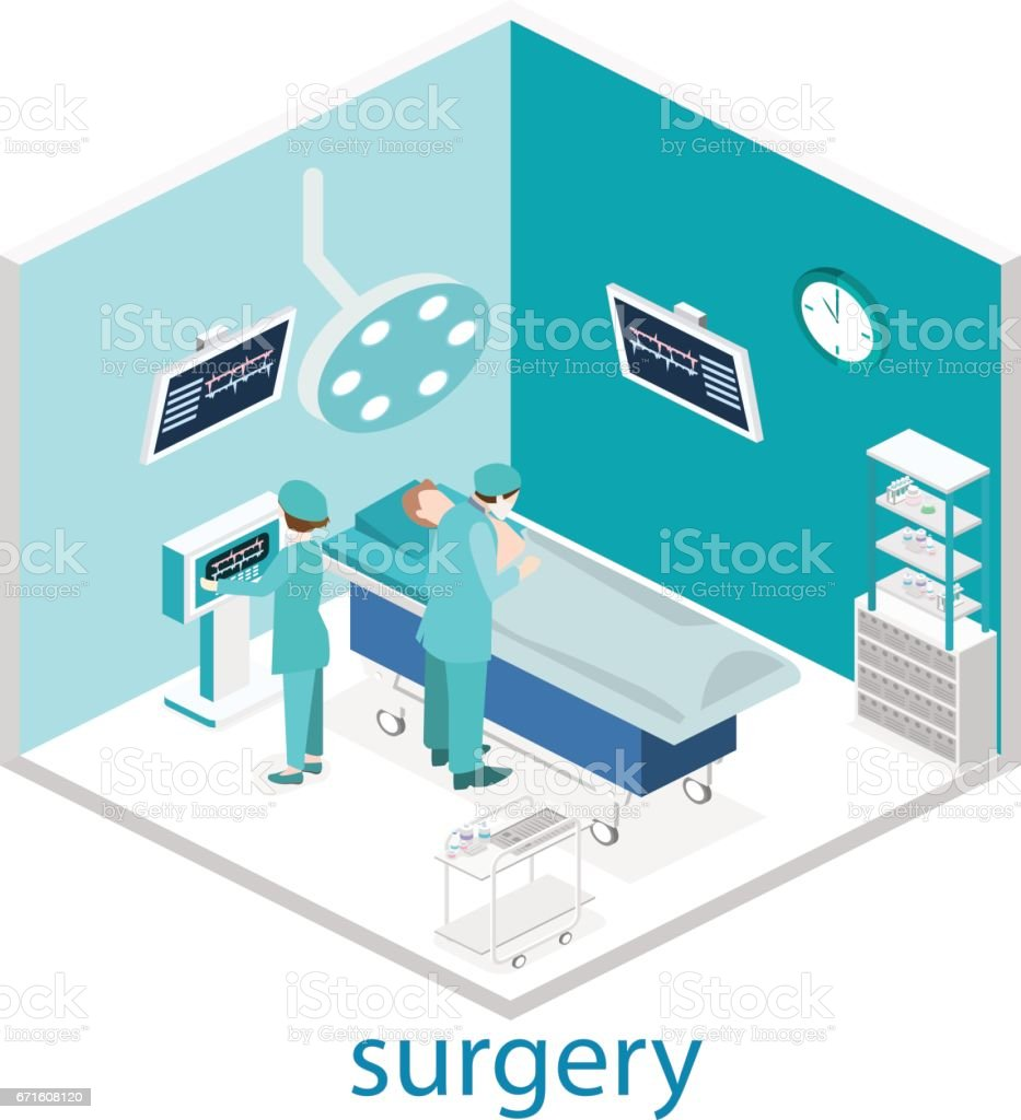 Isometric flat illustrated concept vector interior of Surgery Department. vector art illustration