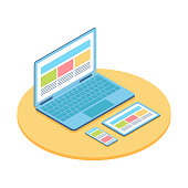 Isometric flat illustration of computer, phone and tablet. For demonstration responsive web design