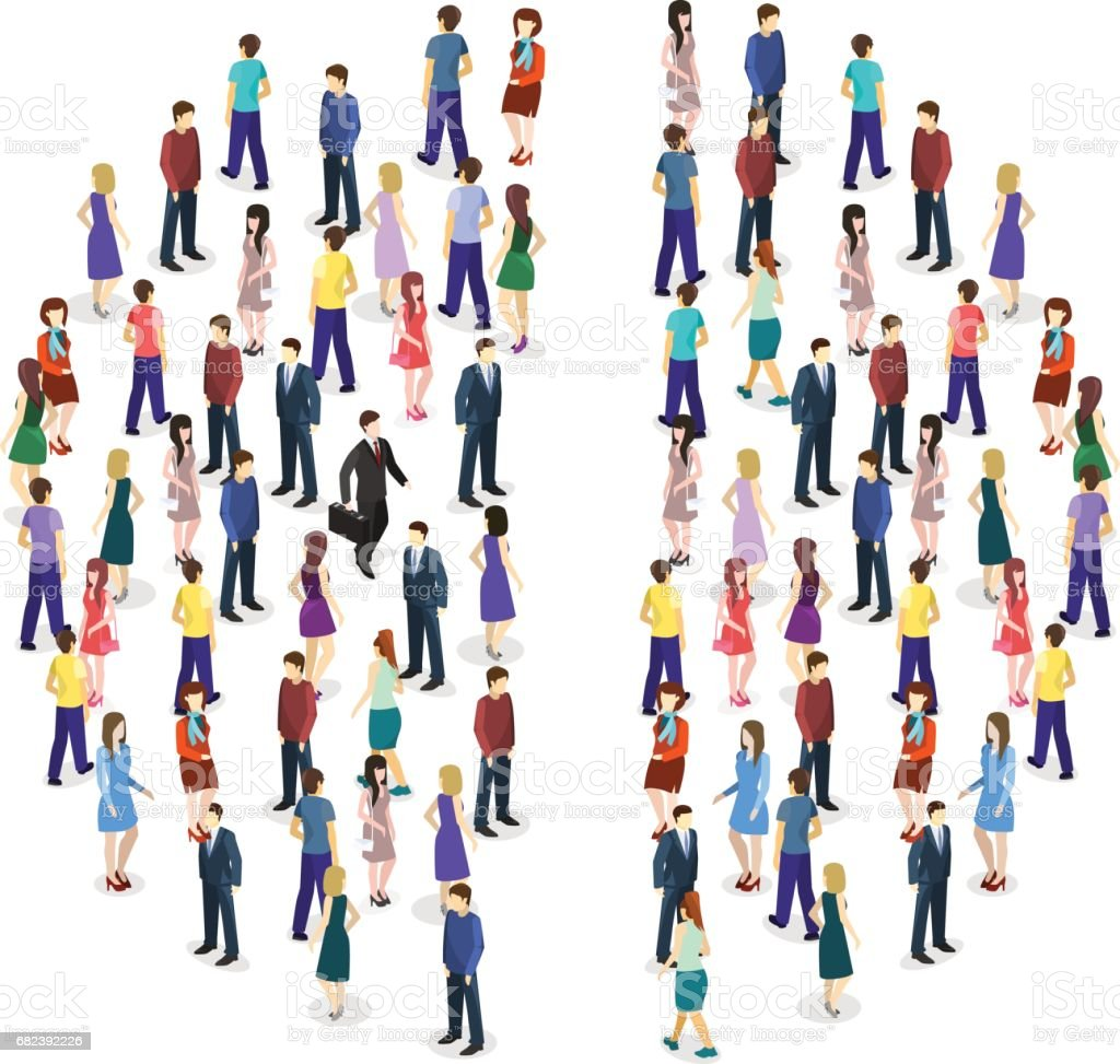 Isometric flat Infographic chart consisting of a crowd of people vector art illustration