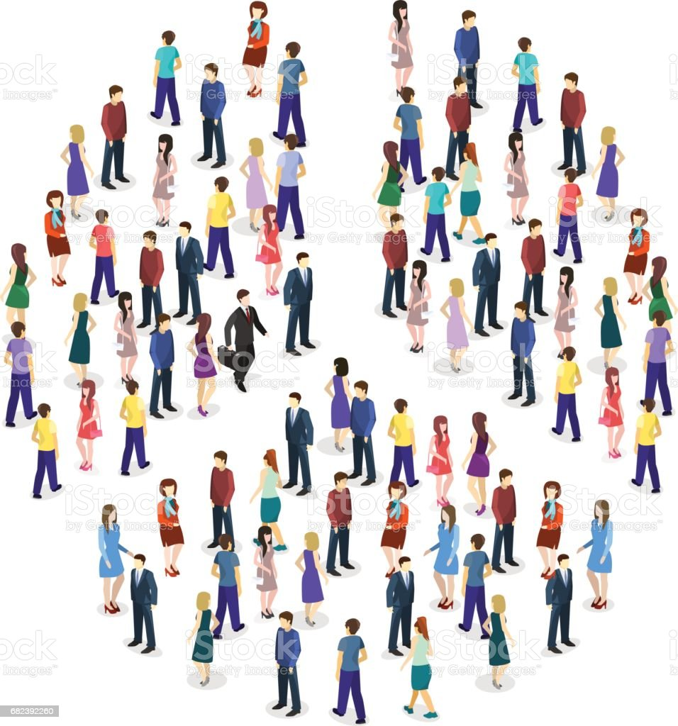 Isometric flat Infographic chart consisting of a crowd of people royalty-free isometric flat infographic chart consisting of a crowd of people stock vector art & more images of abstract
