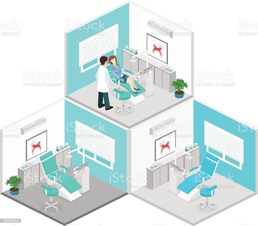 Isometric flat interior of dentist's office. vector art illustration