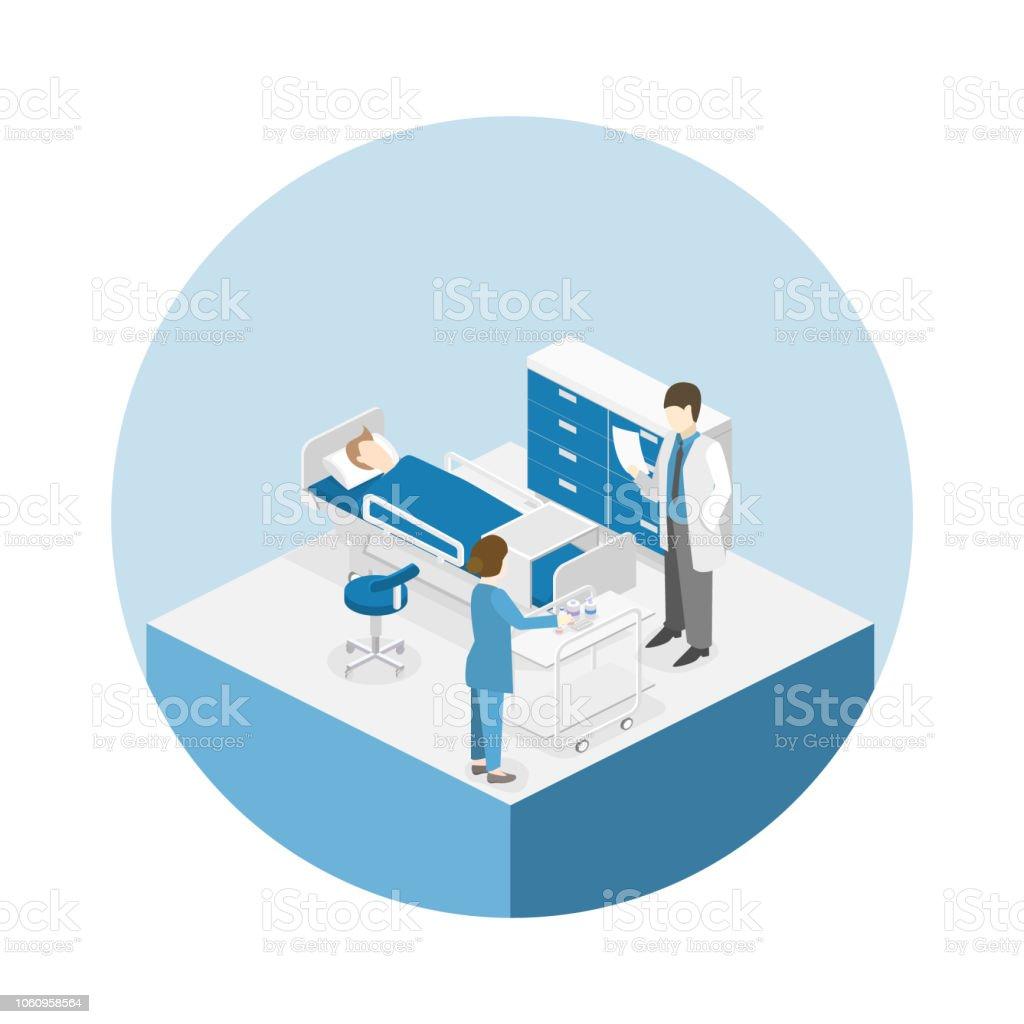 Isometrische flache innere Krankenzimmer. Ärzte, die Behandlung der Patienten. – Vektorgrafik