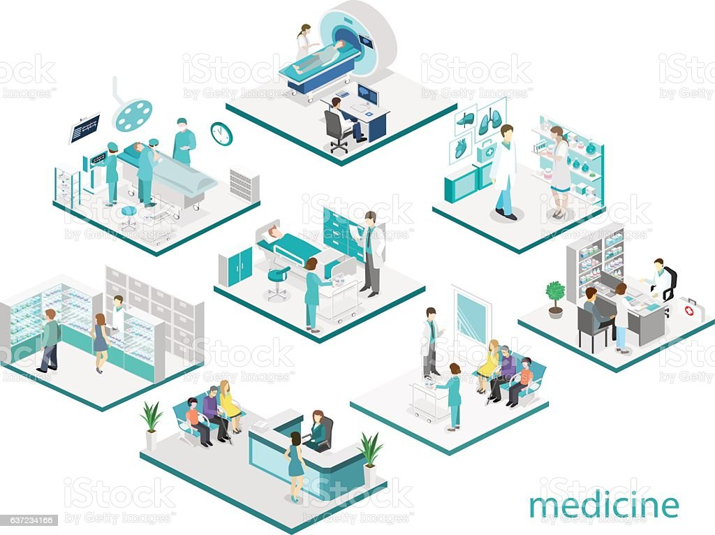 Isometric flat interior of hospital room, pharmacy, doctor's office, vector art illustration