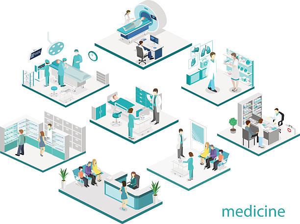 Isometric flat interior of hospital room, pharmacy, doctor's office, - ilustración de arte vectorial