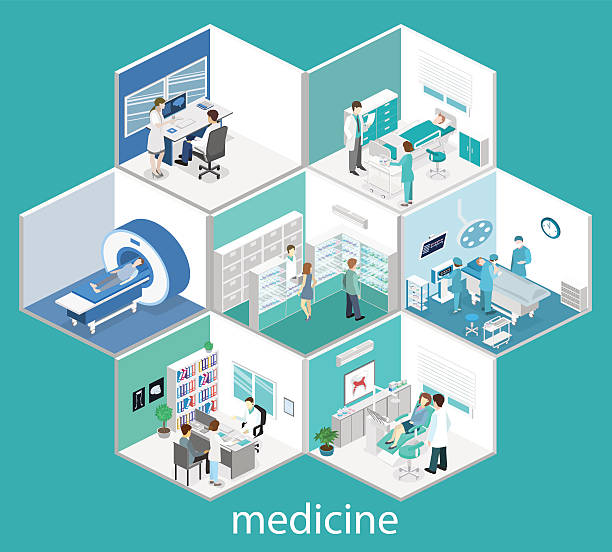 illustrations, cliparts, dessins animés et icônes de isometric flat interior of hospital room, pharmacy, doctor's office, - hôpital