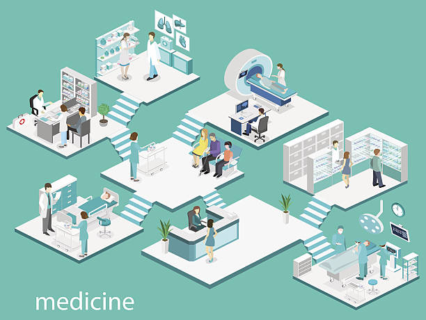 Isometric flat interior of hospital room, pharmacy, doctor's office, Isometric flat interior of hospital room, pharmacy, doctor's office, waiting room, reception, mri, operating. Doctors treating the patient. Flat 3D vector illustration medical technical equipment stock illustrations