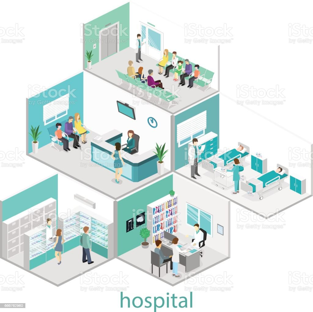 Isometric flat interior of hospital room, pharmacy, doctor's office, waiting room, reception. Doctors treating the patient. Flat 3D illustration isometric flat interior of hospital room pharmacy doctors office waiting room reception doctors treating the patient flat 3d illustration - immagini vettoriali stock e altre immagini di accudire royalty-free