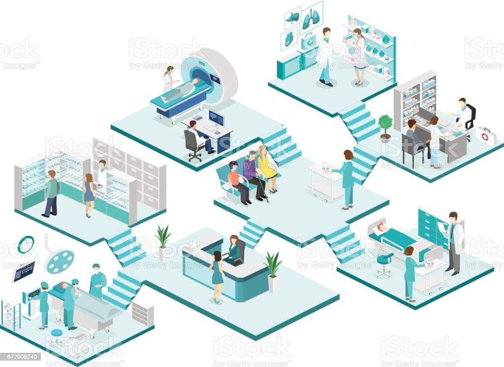 Isometric flat interior of hospital room, pharmacy, doctor's office, vector art illustration